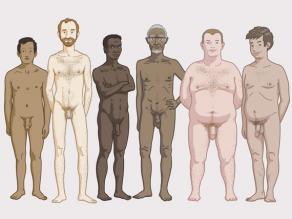 Verschillende mannenlichamen: het lichaam van elke man is anders.