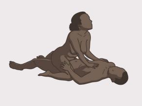 Marrëdhënia seksuale, shembulli 5: gruaja ulet mbi burrin.