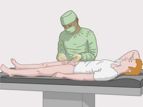 Médico realizando la esterilización de un hombre