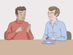 Man talking to a health professional