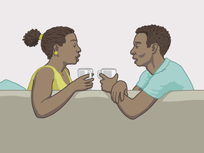 A man and a woman talking as equals