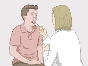 Doctor taking a swab from a man's mouth.