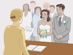 A man and a woman getting married in a town hall