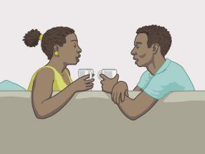 Para rozmawiająca ze sobą jako równorzędni partnerzy