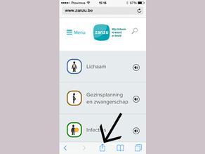 Surf naar zanzu.be en klik op het delen-icoon.