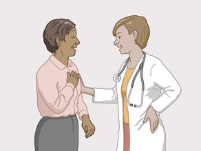 A doctor reassuring a patient that he will not share any confidential information