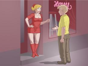 Une travailleuse du sexe et un client discutant à l'entrée d'une maison close