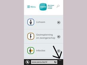 Surf naar zanzu.be en klik op de 3 bolletjes rechts onderaan je scherm.