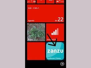 Het Zanzu-icoon verschijnt tussen de apps op je startscherm.
